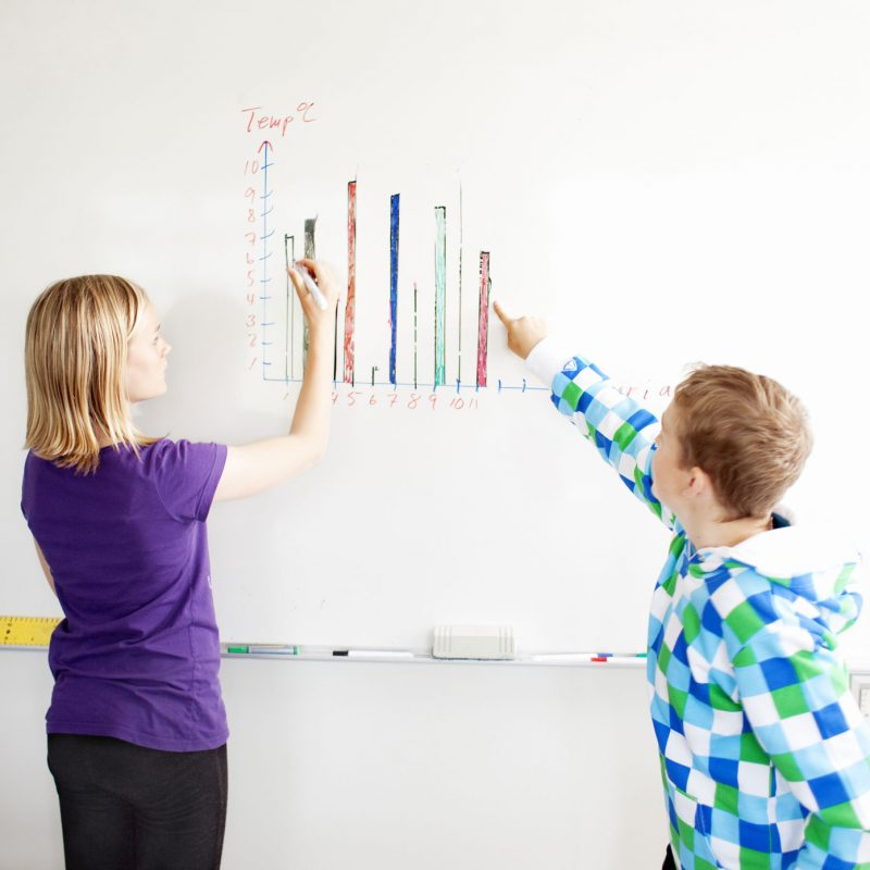 Boy and girl drawing chart on whiteboard in classroom